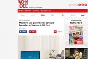 samsung fernseher gewinnen beim wohnidee gewinnspiel gewinnspiele 2018. Black Bedroom Furniture Sets. Home Design Ideas
