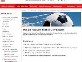 Bundesliga Tickets Gewinnspiel, Bahn Gewinnspiel
