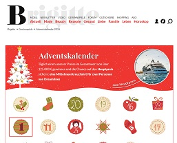 brigitte adventskalender gewinnspiel gewinnspiele 2018. Black Bedroom Furniture Sets. Home Design Ideas