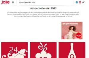 jolie adventskalender gewinnspiel gewinnspiele 2018. Black Bedroom Furniture Sets. Home Design Ideas