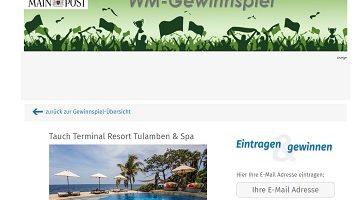 Bali Urlaub Gewinnspiel, Mainpost Gewinnspiel