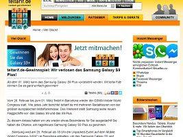 Samsung Galaxy S9 Plus Gewinnspiel, Teltarif Gewinnspiel