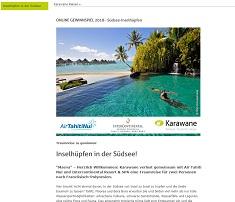 Südsee Reise Gewinnspiel, Karawane Gewinnspiel