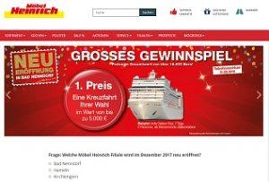 5000 Euro Kreuzfahrt Gewinnspiel, Möbel Heinrich Gewinnspiel