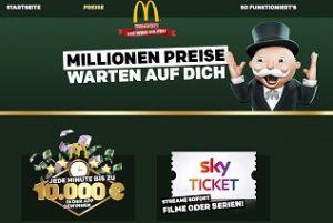 Monopoly McDonalds Code eingeben, Mc Donalds Gewinnspiel