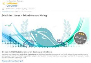 Schiff des Jahres Gewinnspiel, Lufthansa City Center Gewinnspiel