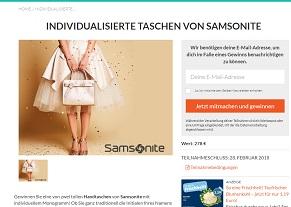 Samsonite Handtasche Gewinnspiel, Selbst Gewinnspiel