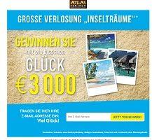 Atlas for Men 3000 Euro Gewinnspiel, Atlas for Men Gewinnspiel