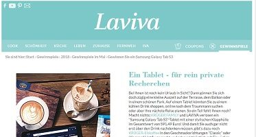 Samsung Galaxy Tab S3 Gewinnspiel, Laviva Gewinnspiel