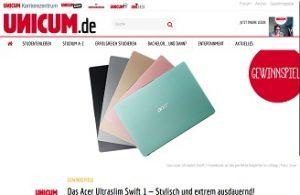 Acer Notebook Gewinnspiel, Unicum Gewinnspiel