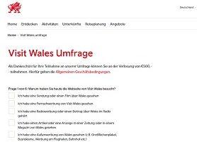 Visit Wales Umfrage Gewinnspiel, Visit Wales Gewinnspiel