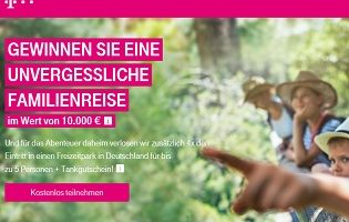 Telekom Familienurlaub Gewinnspiel, Telekom Gewinnspiel