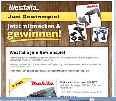 Makita Bohrhammer Gewinnspiel, Westfalia Gewinnspiel