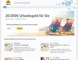 20000 Euro Gewinnspiel, Web.de Gewinnspiel