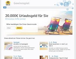 Web.de Bargeld Gewinnspiel, Web.de Gewinnspiel