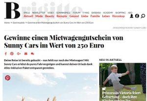 Sunny Cars Gutschein Gewinnspieln, Brigitte Gewinnspiel