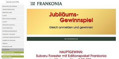 Frankonia Jubiläums-Gewinnspiel, Frankonia Gewinnspiel