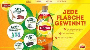 Lipton Code eingeben, Lipton Gewinnspiel