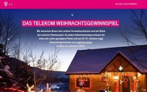 Telekom Weihnachtsgewinnspiel, Telekom Gewinnspiel