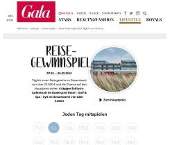 Gala Reise Kalender Gewinnspiel, Gala Gewinnspiel