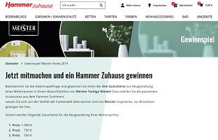 Hammer Heimtex Gutschein Gewinnspiel, Hammer Heimtex Gewinnspiel