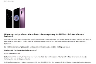Samsung Galaxy S9 Plus Gewinnspiel, Citypower Gewinnspiel