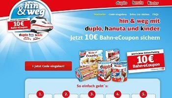 ferrero-hinundweg.de, Ferrero Gewinnspiel