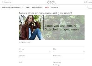Cecil Gutschein Gewinnspiel, Cecil Gewinnspiel