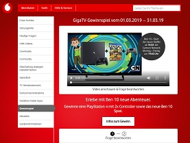 Playstation 4 Gewinnspiel, Kabel Deutschland Gewinnspiel