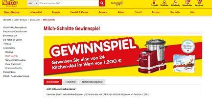 netto-online.de/milchschnitte, netto Gewinnspiel